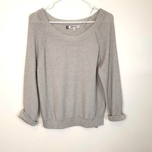 Jennifer Lopez Silver Scoop Neck sweater size M